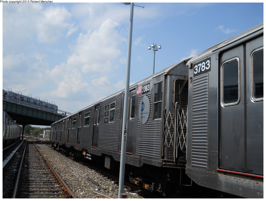 (258k, 1044x788)<br><b>Country:</b> United States<br><b>City:</b> New York<br><b>System:</b> New York City Transit<br><b>Location:</b> East New York Yard/Shops<br><b>Car:</b> R-32 (Budd, 1964)  3383 <br><b>Photo by:</b> Robert Mencher<br><b>Date:</b> 8/11/2010<br><b>Viewed (this week/total):</b> 0 / 252