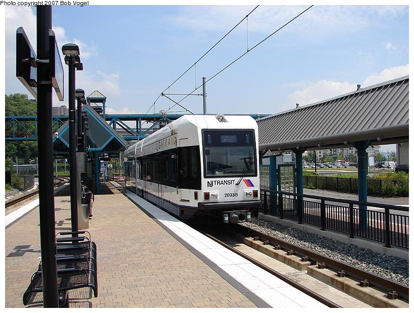 (140k, 820x620)<br><b>Country:</b> United States<br><b>City:</b> Weehawken, NJ<br><b>System:</b> Hudson Bergen Light Rail<br><b>Location:</b> Port Imperial <br><b>Car:</b> NJT-HBLR LRV (Kinki-Sharyo, 1998-99)  2033 <br><b>Photo by:</b> Bob Vogel<br><b>Date:</b> 6/25/2007<br><b>Viewed (this week/total):</b> 0 / 858
