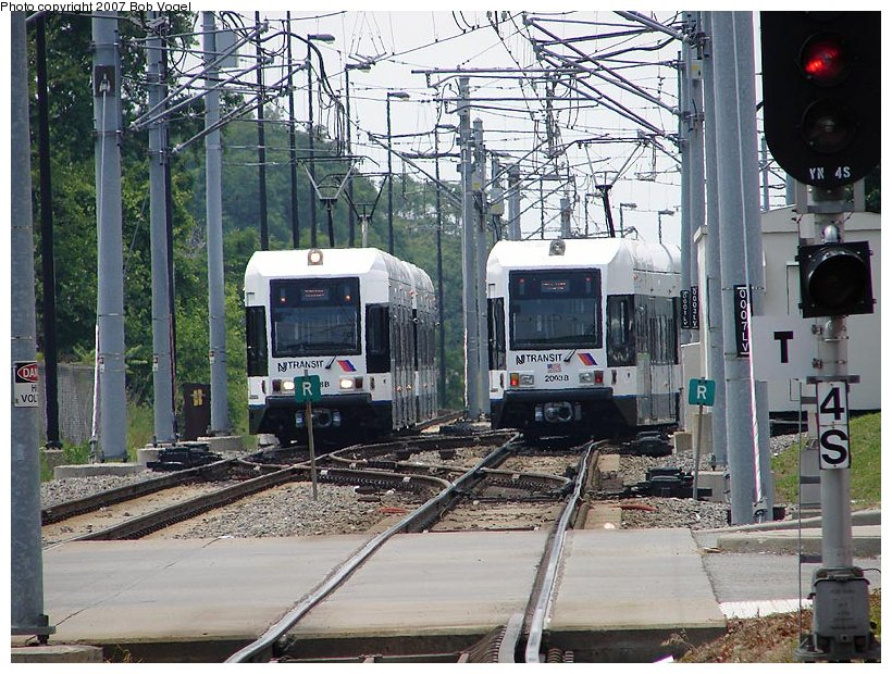 (160k, 820x620)<br><b>Country:</b> United States<br><b>City:</b> Jersey City, NJ<br><b>System:</b> Hudson Bergen Light Rail<br><b>Location:</b> Liberty State Park <br><b>Car:</b> NJT-HBLR LRV (Kinki-Sharyo, 1998-99)  2003 <br><b>Photo by:</b> Bob Vogel<br><b>Date:</b> 6/25/2007<br><b>Viewed (this week/total):</b> 0 / 1161