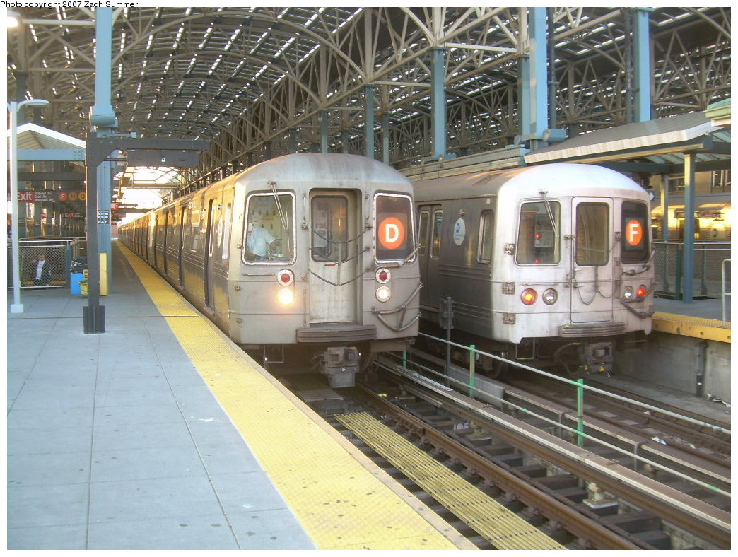 (246k, 1044x788)<br><b>Country:</b> United States<br><b>City:</b> New York<br><b>System:</b> New York City Transit<br><b>Location:</b> Coney Island/Stillwell Avenue<br><b>Route:</b> D<br><b>Car:</b> R-68 (Westinghouse-Amrail, 1986-1988)   <br><b>Photo by:</b> Zach Summer<br><b>Date:</b> 6/15/2007<br><b>Notes:</b> With R46 F train.<br><b>Viewed (this week/total):</b> 1 / 1813