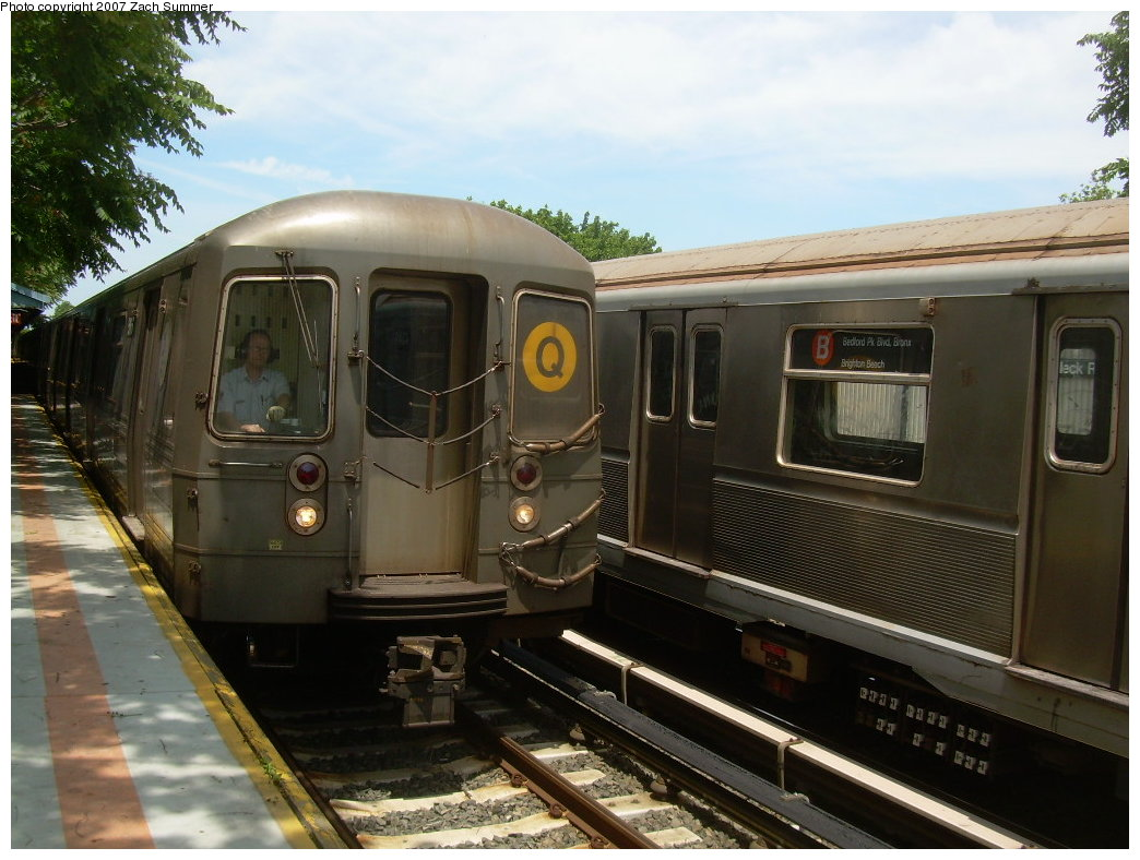 (202k, 1044x788)<br><b>Country:</b> United States<br><b>City:</b> New York<br><b>System:</b> New York City Transit<br><b>Line:</b> BMT Brighton Line<br><b>Location:</b> Neck Road <br><b>Route:</b> Q<br><b>Car:</b> R-68A (Kawasaki, 1988-1989)   <br><b>Photo by:</b> Zach Summer<br><b>Date:</b> 6/24/2007<br><b>Viewed (this week/total):</b> 0 / 1270