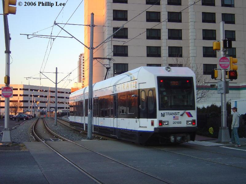 (85k, 800x600)<br><b>Country:</b> United States<br><b>City:</b> Jersey City, NJ<br><b>System:</b> Hudson Bergen Light Rail<br><b>Location:</b> Harsimus Cove <br><b>Car:</b> NJT-HBLR LRV (Kinki-Sharyo, 1998-99)  2016 <br><b>Photo by:</b> Phillip Lee<br><b>Date:</b> 12/23/2006<br><b>Viewed (this week/total):</b> 0 / 682