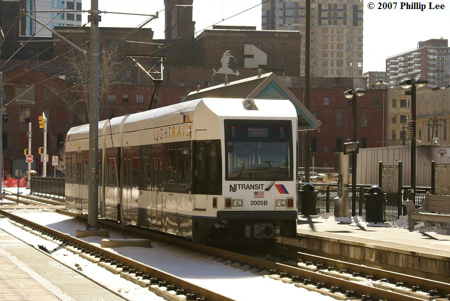 (129k, 898x601)<br><b>Country:</b> United States<br><b>City:</b> Jersey City, NJ<br><b>System:</b> Hudson Bergen Light Rail<br><b>Location:</b> Harsimus Cove <br><b>Car:</b> NJT-HBLR LRV (Kinki-Sharyo, 1998-99)  2005 <br><b>Photo by:</b> Phillip Lee<br><b>Date:</b> 2/17/2007<br><b>Viewed (this week/total):</b> 2 / 796