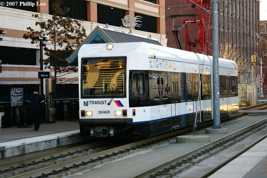(140k, 898x601)<br><b>Country:</b> United States<br><b>City:</b> Jersey City, NJ<br><b>System:</b> Hudson Bergen Light Rail<br><b>Location:</b> Harsimus Cove <br><b>Car:</b> NJT-HBLR LRV (Kinki-Sharyo, 1998-99)  2046 <br><b>Photo by:</b> Phillip Lee<br><b>Date:</b> 2/3/2007<br><b>Viewed (this week/total):</b> 1 / 745