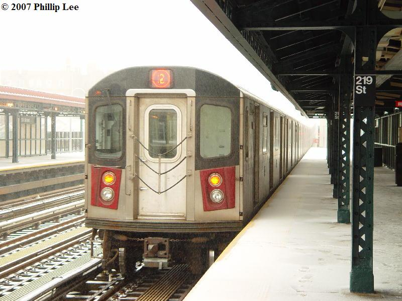 (89k, 800x600)<br><b>Country:</b> United States<br><b>City:</b> New York<br><b>System:</b> New York City Transit<br><b>Line:</b> IRT White Plains Road Line<br><b>Location:</b> 219th Street <br><b>Route:</b> 2<br><b>Car:</b> R-142 or R-142A (Number Unknown)  <br><b>Photo by:</b> Phillip Lee<br><b>Date:</b> 2/14/2007<br><b>Viewed (this week/total):</b> 1 / 2757