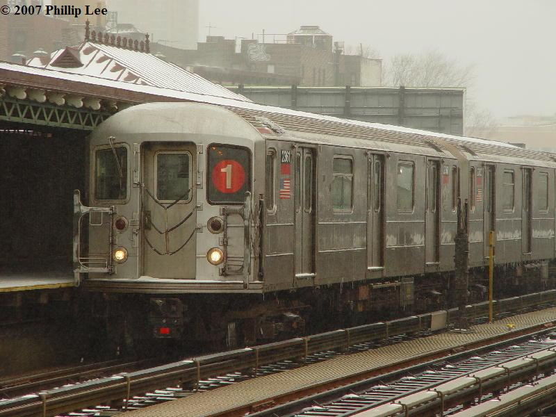 (91k, 800x600)<br><b>Country:</b> United States<br><b>City:</b> New York<br><b>System:</b> New York City Transit<br><b>Line:</b> IRT West Side Line<br><b>Location:</b> 215th Street <br><b>Route:</b> 1<br><b>Car:</b> R-62A (Bombardier, 1984-1987)  2361 <br><b>Photo by:</b> Phillip Lee<br><b>Date:</b> 2/14/2007<br><b>Viewed (this week/total):</b> 2 / 1601