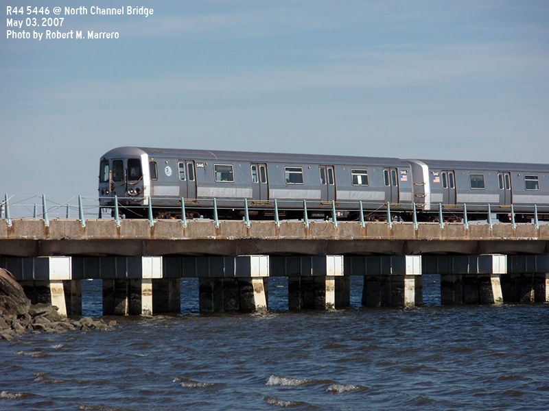 (128k, 800x600)<br><b>Country:</b> United States<br><b>City:</b> New York<br><b>System:</b> New York City Transit<br><b>Line:</b> IND Rockaway<br><b>Location:</b> North Channel Bridge <br><b>Route:</b> A<br><b>Car:</b> R-44 (St. Louis, 1971-73) 5446 <br><b>Photo by:</b> Robert Marrero<br><b>Date:</b> 5/3/2007<br><b>Viewed (this week/total):</b> 1 / 1768