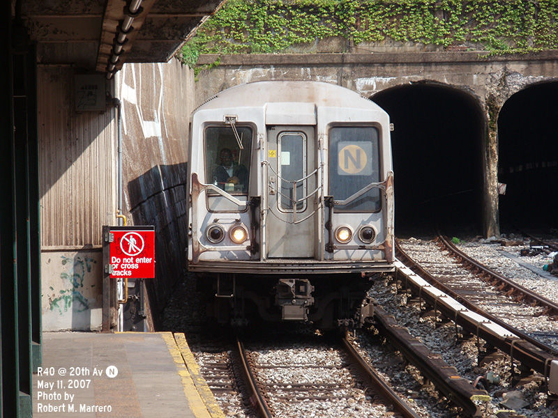 (188k, 800x600)<br><b>Country:</b> United States<br><b>City:</b> New York<br><b>System:</b> New York City Transit<br><b>Line:</b> BMT Sea Beach Line<br><b>Location:</b> 20th Avenue <br><b>Route:</b> N<br><b>Car:</b> R-40 (St. Louis, 1968)   <br><b>Photo by:</b> Robert Marrero<br><b>Date:</b> 5/11/2007<br><b>Viewed (this week/total):</b> 0 / 1799