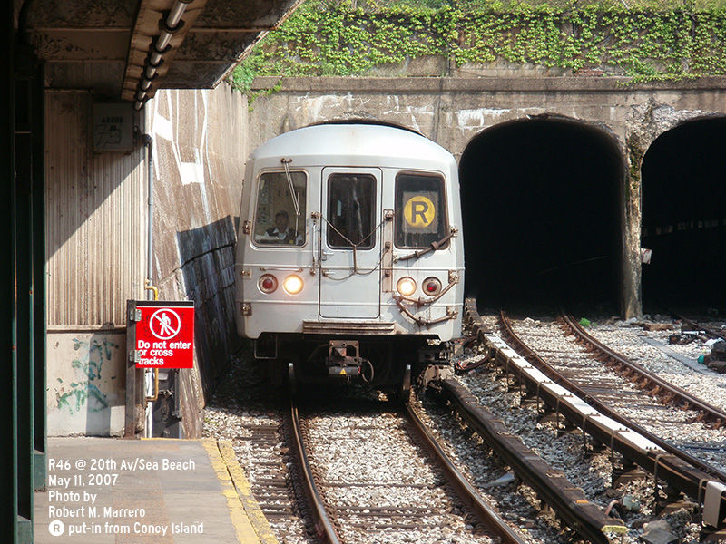 (201k, 800x600)<br><b>Country:</b> United States<br><b>City:</b> New York<br><b>System:</b> New York City Transit<br><b>Line:</b> BMT Sea Beach Line<br><b>Location:</b> 20th Avenue <br><b>Route:</b> R<br><b>Car:</b> R-46 (Pullman-Standard, 1974-75)  <br><b>Photo by:</b> Robert Marrero<br><b>Date:</b> 5/11/2007<br><b>Viewed (this week/total):</b> 0 / 1900