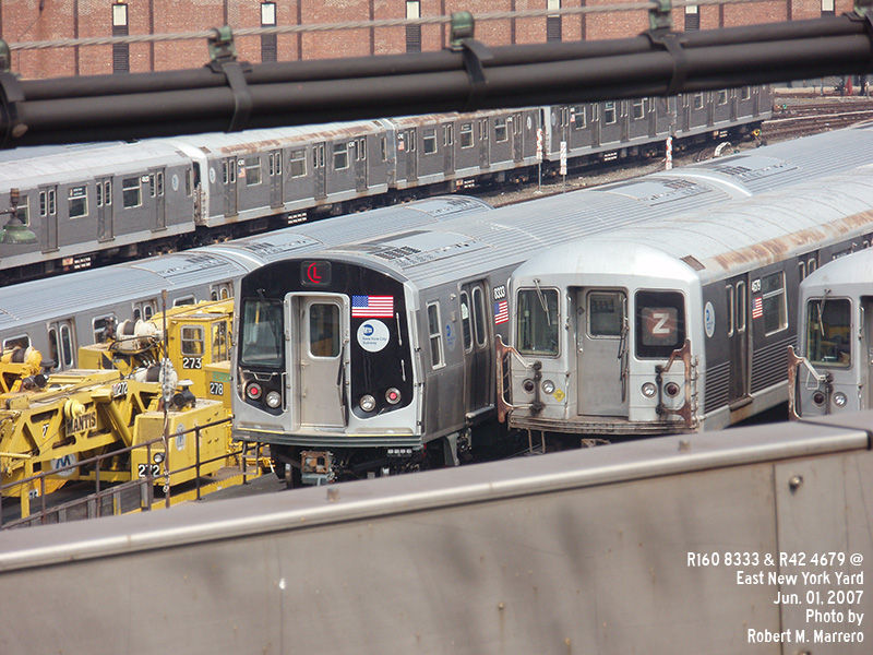 (162k, 800x600)<br><b>Country:</b> United States<br><b>City:</b> New York<br><b>System:</b> New York City Transit<br><b>Location:</b> East New York Yard/Shops<br><b>Car:</b> R-160A-1 (Alstom, 2005-2008, 4 car sets)  8333 <br><b>Photo by:</b> Robert Marrero<br><b>Date:</b> 6/1/2007<br><b>Notes:</b> With R42 4679.<br><b>Viewed (this week/total):</b> 0 / 2245