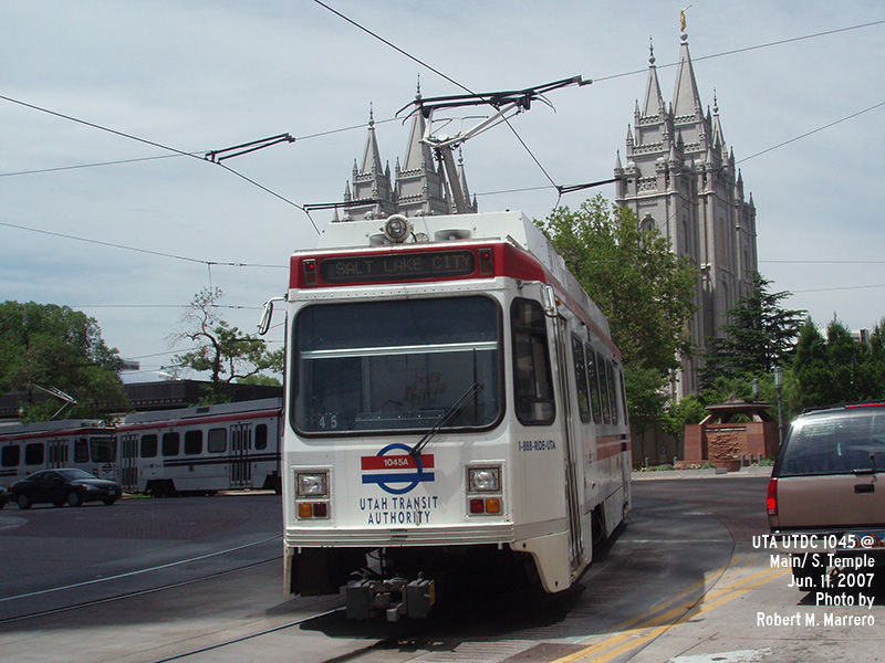 (139k, 800x600)<br><b>Country:</b> United States<br><b>City:</b> Salt Lake City, UT<br><b>System:</b> TRAX<br><b>Location:</b> South Temple & Main <br><b>Car:</b>  1045 <br><b>Photo by:</b> Robert Marrero<br><b>Date:</b> 6/11/2007<br><b>Viewed (this week/total):</b> 7 / 1916