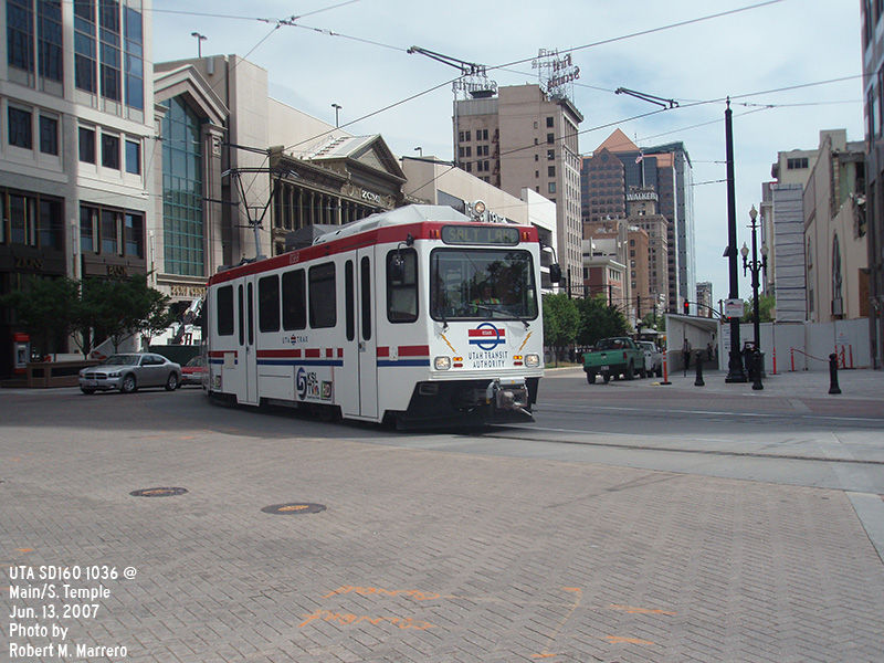 (151k, 800x600)<br><b>Country:</b> United States<br><b>City:</b> Salt Lake City, UT<br><b>System:</b> TRAX<br><b>Location:</b> South Temple & Main <br><b>Car:</b>  1036 <br><b>Photo by:</b> Robert Marrero<br><b>Date:</b> 6/13/2007<br><b>Viewed (this week/total):</b> 2 / 1560