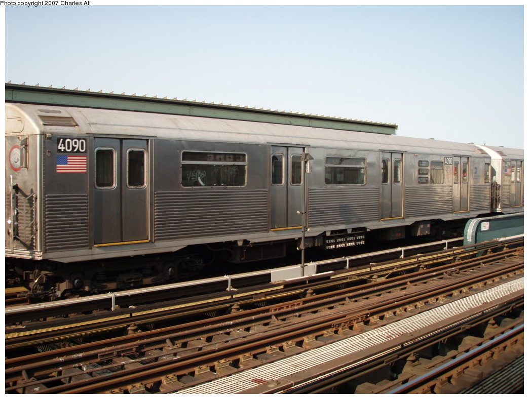 (187k, 1044x788)<br><b>Country:</b> United States<br><b>City:</b> New York<br><b>System:</b> New York City Transit<br><b>Line:</b> IND Fulton Street Line<br><b>Location:</b> Rockaway Boulevard <br><b>Route:</b> A<br><b>Car:</b> R-38 (St. Louis, 1966-1967)  4090 <br><b>Photo by:</b> Charles Ali<br><b>Date:</b> 9/17/2006<br><b>Viewed (this week/total):</b> 1 / 959