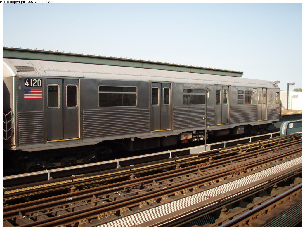 (188k, 1044x788)<br><b>Country:</b> United States<br><b>City:</b> New York<br><b>System:</b> New York City Transit<br><b>Line:</b> IND Fulton Street Line<br><b>Location:</b> Rockaway Boulevard <br><b>Route:</b> A<br><b>Car:</b> R-38 (St. Louis, 1966-1967)  4120 <br><b>Photo by:</b> Charles Ali<br><b>Date:</b> 9/17/2006<br><b>Viewed (this week/total):</b> 1 / 1798