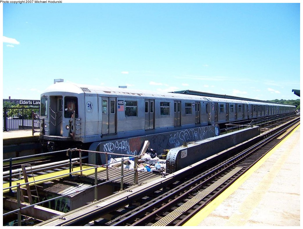 (205k, 1044x788)<br><b>Country:</b> United States<br><b>City:</b> New York<br><b>System:</b> New York City Transit<br><b>Line:</b> BMT Nassau Street/Jamaica Line<br><b>Location:</b> 75th Street/Elderts Lane <br><b>Route:</b> J<br><b>Car:</b> R-42 (St. Louis, 1969-1970)  4883 <br><b>Photo by:</b> Michael Hodurski<br><b>Date:</b> 6/23/2007<br><b>Viewed (this week/total):</b> 1 / 1395