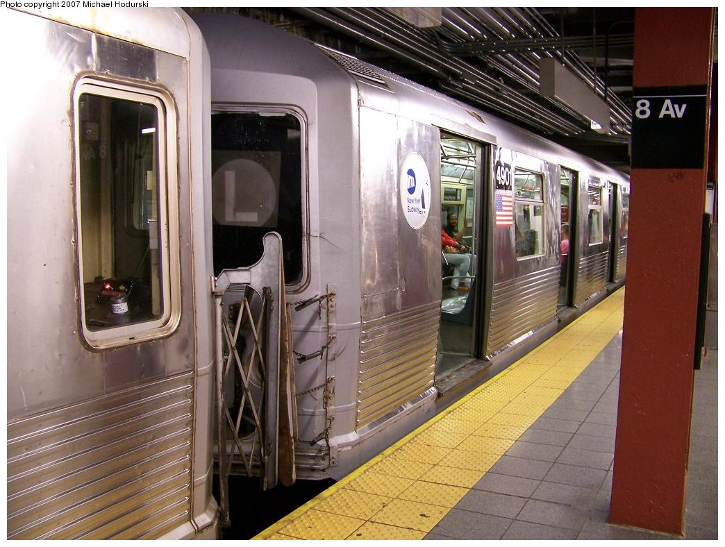(198k, 1044x788)<br><b>Country:</b> United States<br><b>City:</b> New York<br><b>System:</b> New York City Transit<br><b>Line:</b> BMT Canarsie Line<br><b>Location:</b> 8th Avenue <br><b>Route:</b> L<br><b>Car:</b> R-42 (St. Louis, 1969-1970)  4901 <br><b>Photo by:</b> Michael Hodurski<br><b>Date:</b> 6/22/2007<br><b>Viewed (this week/total):</b> 0 / 2069