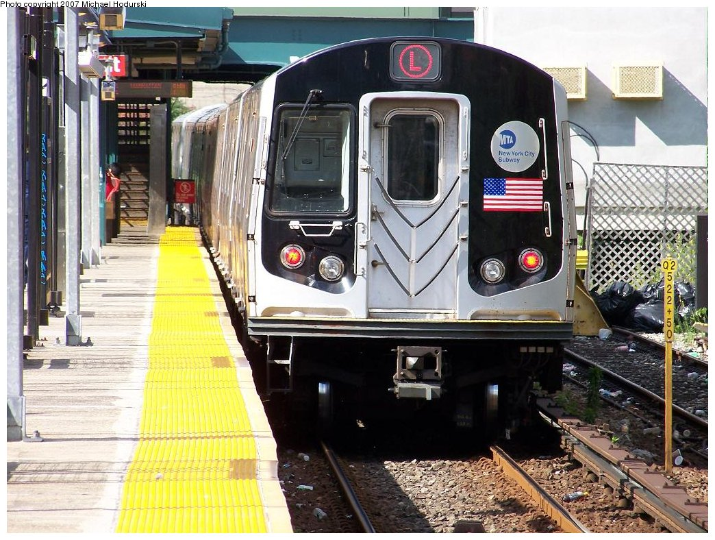 (237k, 1044x788)<br><b>Country:</b> United States<br><b>City:</b> New York<br><b>System:</b> New York City Transit<br><b>Line:</b> BMT Canarsie Line<br><b>Location:</b> East 105th Street <br><b>Route:</b> L<br><b>Car:</b> R-143 (Kawasaki, 2001-2002) 8268 <br><b>Photo by:</b> Michael Hodurski<br><b>Date:</b> 6/22/2007<br><b>Viewed (this week/total):</b> 1 / 2261