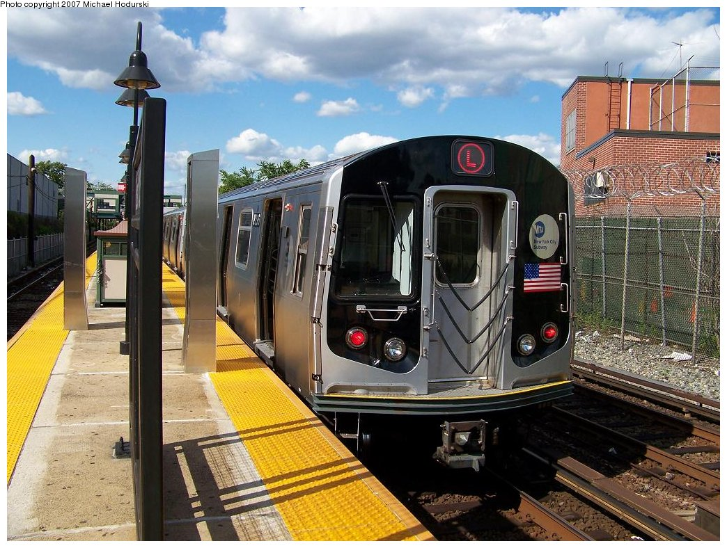 (237k, 1044x788)<br><b>Country:</b> United States<br><b>City:</b> New York<br><b>System:</b> New York City Transit<br><b>Line:</b> BMT Canarsie Line<br><b>Location:</b> East 105th Street <br><b>Route:</b> L<br><b>Car:</b> R-143 (Kawasaki, 2001-2002) 8296 <br><b>Photo by:</b> Michael Hodurski<br><b>Date:</b> 6/22/2007<br><b>Viewed (this week/total):</b> 3 / 2411