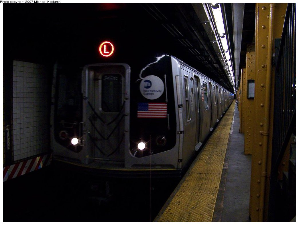 (132k, 1044x788)<br><b>Country:</b> United States<br><b>City:</b> New York<br><b>System:</b> New York City Transit<br><b>Line:</b> BMT Canarsie Line<br><b>Location:</b> 6th Avenue <br><b>Route:</b> L<br><b>Car:</b> R-143 (Kawasaki, 2001-2002) 8x25 <br><b>Photo by:</b> Michael Hodurski<br><b>Date:</b> 6/22/2007<br><b>Viewed (this week/total):</b> 0 / 1447