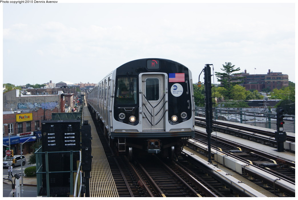 (233k, 1044x701)<br><b>Country:</b> United States<br><b>City:</b> New York<br><b>System:</b> New York City Transit<br><b>Line:</b> BMT West End Line<br><b>Location:</b> 71st Street <br><b>Route:</b> M<br><b>Car:</b> R-160A-1 (Alstom, 2005-2008, 4 car sets)   <br><b>Photo by:</b> Dennis Axenov<br><b>Date:</b> 6/25/2010<br><b>Viewed (this week/total):</b> 1 / 380