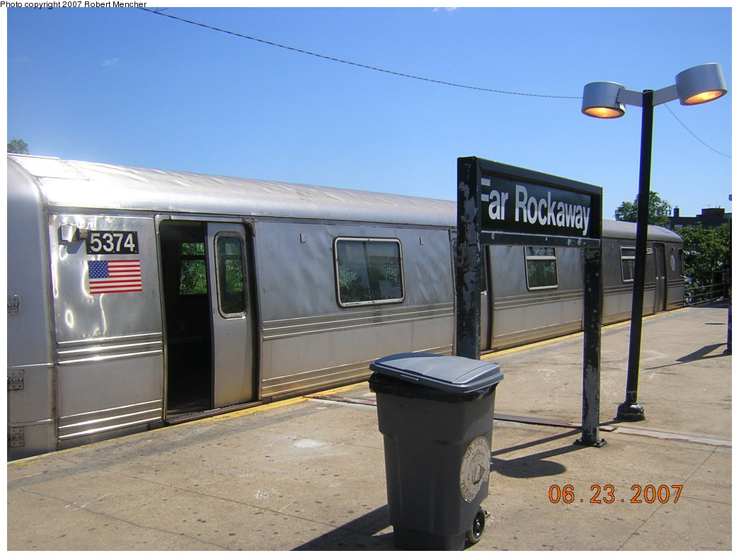(185k, 1044x788)<br><b>Country:</b> United States<br><b>City:</b> New York<br><b>System:</b> New York City Transit<br><b>Line:</b> IND Rockaway<br><b>Location:</b> Mott Avenue/Far Rockaway <br><b>Route:</b> A<br><b>Car:</b> R-44 (St. Louis, 1971-73) 5374 <br><b>Photo by:</b> Robert Mencher<br><b>Date:</b> 6/23/2007<br><b>Viewed (this week/total):</b> 1 / 1094