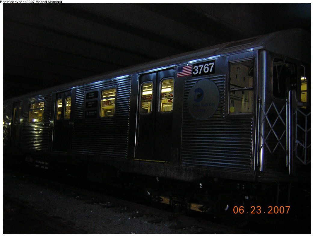 (162k, 1044x788)<br><b>Country:</b> United States<br><b>City:</b> New York<br><b>System:</b> New York City Transit<br><b>Location:</b> Pitkin Yard/Shops<br><b>Car:</b> R-32 (Budd, 1964)  3767 <br><b>Photo by:</b> Robert Mencher<br><b>Date:</b> 6/23/2007<br><b>Viewed (this week/total):</b> 2 / 1848