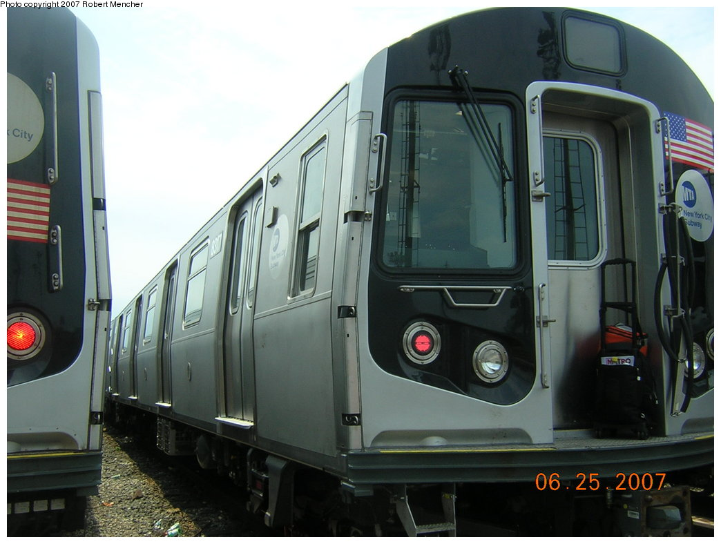 (175k, 1044x788)<br><b>Country:</b> United States<br><b>City:</b> New York<br><b>System:</b> New York City Transit<br><b>Location:</b> Rockaway Parkway (Canarsie) Yard<br><b>Car:</b> R-160A-1 (Alstom, 2005-2008, 4 car sets)  8317 <br><b>Photo by:</b> Robert Mencher<br><b>Date:</b> 6/25/2007<br><b>Viewed (this week/total):</b> 2 / 1684