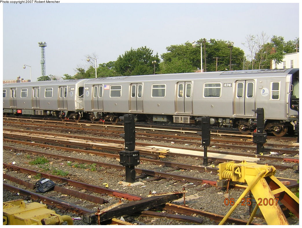 (255k, 1044x788)<br><b>Country:</b> United States<br><b>City:</b> New York<br><b>System:</b> New York City Transit<br><b>Location:</b> Rockaway Parkway (Canarsie) Yard<br><b>Car:</b> R-160A-1 (Alstom, 2005-2008, 4 car sets)  8316 <br><b>Photo by:</b> Robert Mencher<br><b>Date:</b> 6/25/2007<br><b>Viewed (this week/total):</b> 0 / 1303