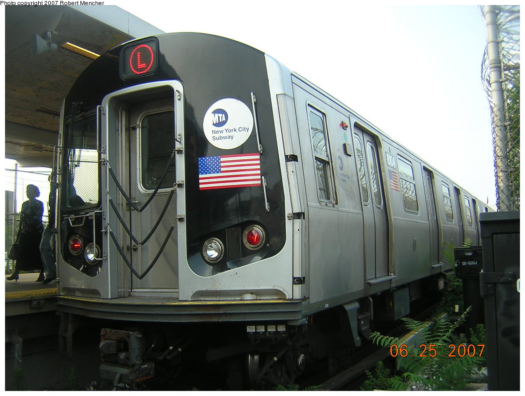 (189k, 1044x788)<br><b>Country:</b> United States<br><b>City:</b> New York<br><b>System:</b> New York City Transit<br><b>Line:</b> BMT Canarsie Line<br><b>Location:</b> Rockaway Parkway <br><b>Route:</b> L<br><b>Car:</b> R-143 (Kawasaki, 2001-2002) 8104 <br><b>Photo by:</b> Robert Mencher<br><b>Date:</b> 6/25/2007<br><b>Viewed (this week/total):</b> 2 / 3178