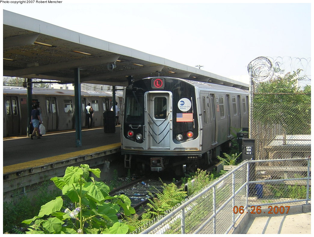 (239k, 1044x788)<br><b>Country:</b> United States<br><b>City:</b> New York<br><b>System:</b> New York City Transit<br><b>Line:</b> BMT Canarsie Line<br><b>Location:</b> Rockaway Parkway <br><b>Route:</b> L<br><b>Car:</b> R-143 (Kawasaki, 2001-2002)  <br><b>Photo by:</b> Robert Mencher<br><b>Date:</b> 6/26/2007<br><b>Viewed (this week/total):</b> 8 / 2012