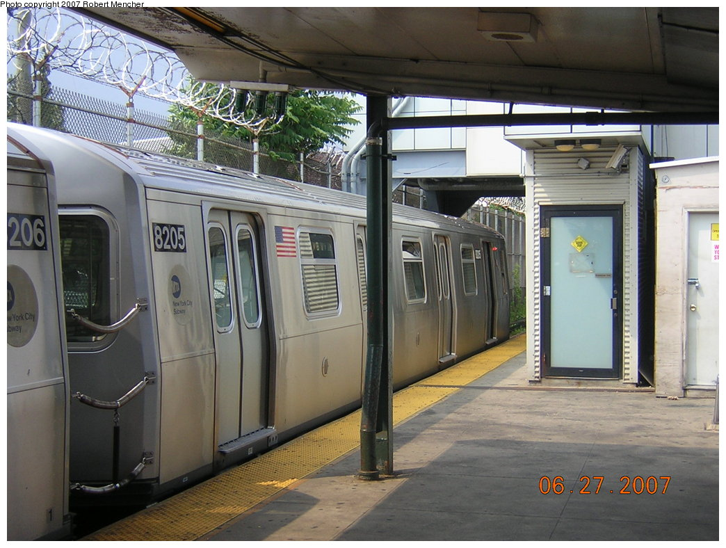 (218k, 1044x788)<br><b>Country:</b> United States<br><b>City:</b> New York<br><b>System:</b> New York City Transit<br><b>Line:</b> BMT Canarsie Line<br><b>Location:</b> Rockaway Parkway <br><b>Route:</b> L<br><b>Car:</b> R-143 (Kawasaki, 2001-2002) 8205 <br><b>Photo by:</b> Robert Mencher<br><b>Date:</b> 6/27/2007<br><b>Viewed (this week/total):</b> 0 / 1345