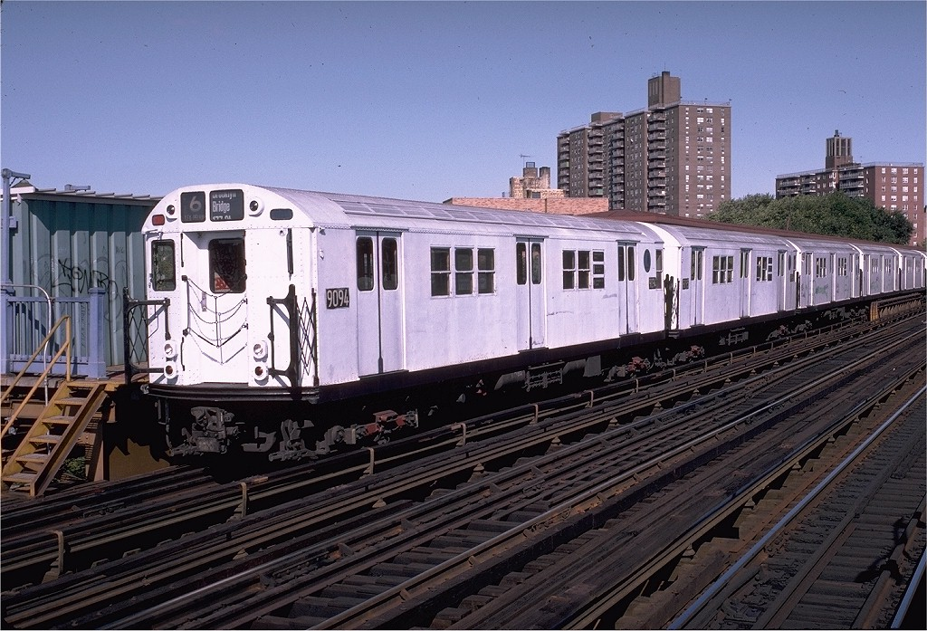 (239k, 1024x697)<br><b>Country:</b> United States<br><b>City:</b> New York<br><b>System:</b> New York City Transit<br><b>Line:</b> IRT Pelham Line<br><b>Location:</b> Middletown Road <br><b>Route:</b> 6<br><b>Car:</b> R-33 Main Line (St. Louis, 1962-63) 9094 <br><b>Photo by:</b> Doug Grotjahn<br><b>Collection of:</b> Joe Testagrose<br><b>Date:</b> 10/17/1982<br><b>Viewed (this week/total):</b> 2 / 1586