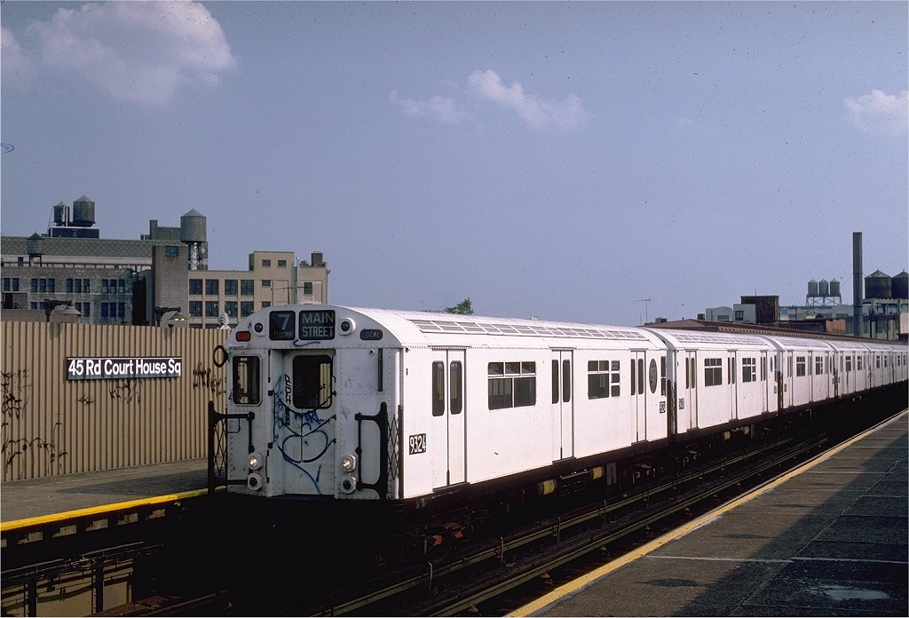(187k, 1024x696)<br><b>Country:</b> United States<br><b>City:</b> New York<br><b>System:</b> New York City Transit<br><b>Line:</b> IRT Flushing Line<br><b>Location:</b> Court House Square/45th Road <br><b>Route:</b> 7<br><b>Car:</b> R-33 World's Fair (St. Louis, 1963-64) 9324 <br><b>Photo by:</b> Steve Zabel<br><b>Collection of:</b> Joe Testagrose<br><b>Date:</b> 6/5/1983<br><b>Viewed (this week/total):</b> 2 / 1860