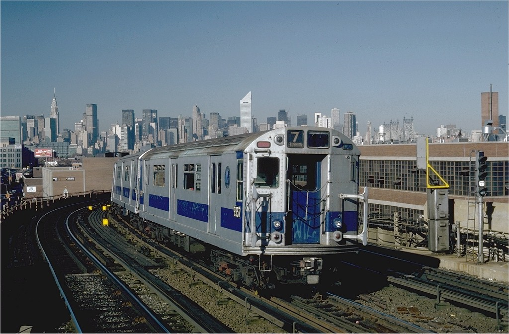 (207k, 1024x672)<br><b>Country:</b> United States<br><b>City:</b> New York<br><b>System:</b> New York City Transit<br><b>Line:</b> IRT Flushing Line<br><b>Location:</b> 33rd Street/Rawson Street <br><b>Route:</b> 7<br><b>Car:</b> R-33 World's Fair (St. Louis, 1963-64) 9337 <br><b>Photo by:</b> Steve Zabel<br><b>Collection of:</b> Joe Testagrose<br><b>Date:</b> 11/3/1981<br><b>Viewed (this week/total):</b> 1 / 2490