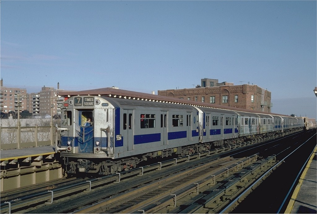 (185k, 1024x692)<br><b>Country:</b> United States<br><b>City:</b> New York<br><b>System:</b> New York City Transit<br><b>Line:</b> IRT Flushing Line<br><b>Location:</b> 52nd Street/Lincoln Avenue <br><b>Route:</b> 7<br><b>Car:</b> R-36 World's Fair (St. Louis, 1963-64) 9364 <br><b>Photo by:</b> Steve Zabel<br><b>Collection of:</b> Joe Testagrose<br><b>Date:</b> 12/11/1981<br><b>Viewed (this week/total):</b> 3 / 1310
