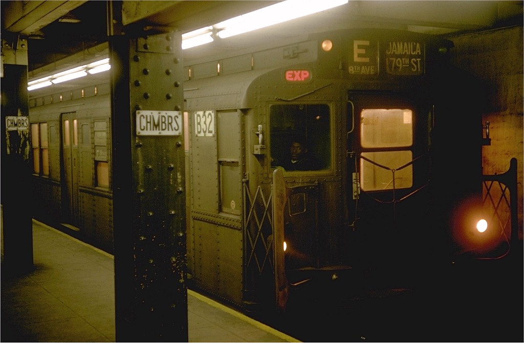 (138k, 1024x671)<br><b>Country:</b> United States<br><b>City:</b> New York<br><b>System:</b> New York City Transit<br><b>Line:</b> IND 8th Avenue Line<br><b>Location:</b> Chambers Street/World Trade Center <br><b>Route:</b> E<br><b>Car:</b> R-9 (Pressed Steel, 1940)  B32 (ex-1742)<br><b>Photo by:</b> Doug Grotjahn<br><b>Collection of:</b> Joe Testagrose<br><b>Date:</b> 1/10/1969<br><b>Viewed (this week/total):</b> 2 / 2586