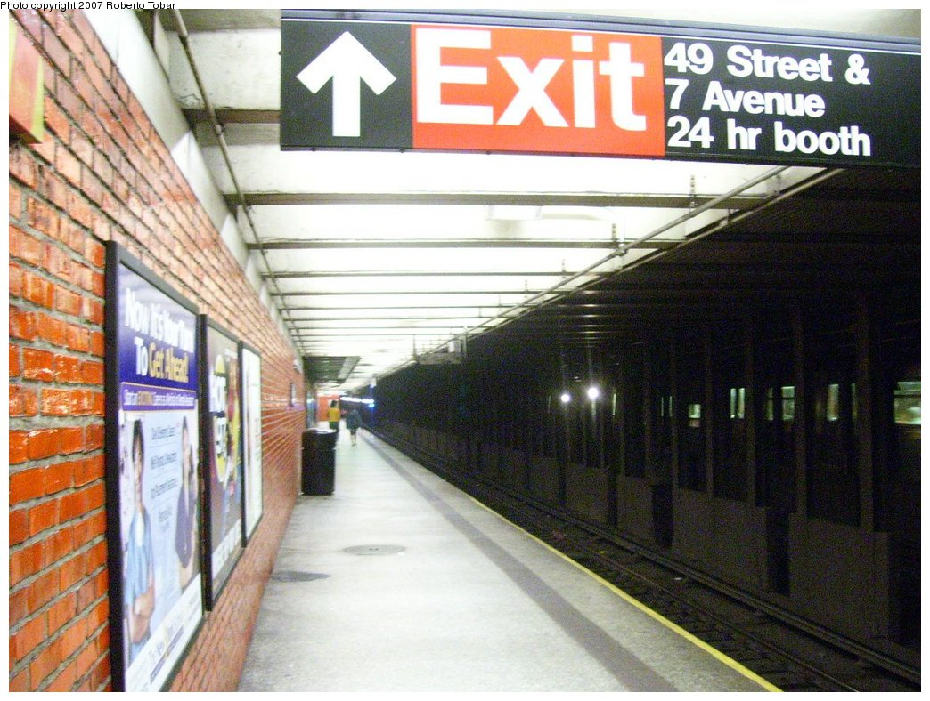(198k, 1044x788)<br><b>Country:</b> United States<br><b>City:</b> New York<br><b>System:</b> New York City Transit<br><b>Line:</b> BMT Broadway Line<br><b>Location:</b> 49th Street <br><b>Photo by:</b> Roberto C. Tobar<br><b>Date:</b> 7/4/2007<br><b>Notes:</b> Platform view.<br><b>Viewed (this week/total):</b> 9 / 2088