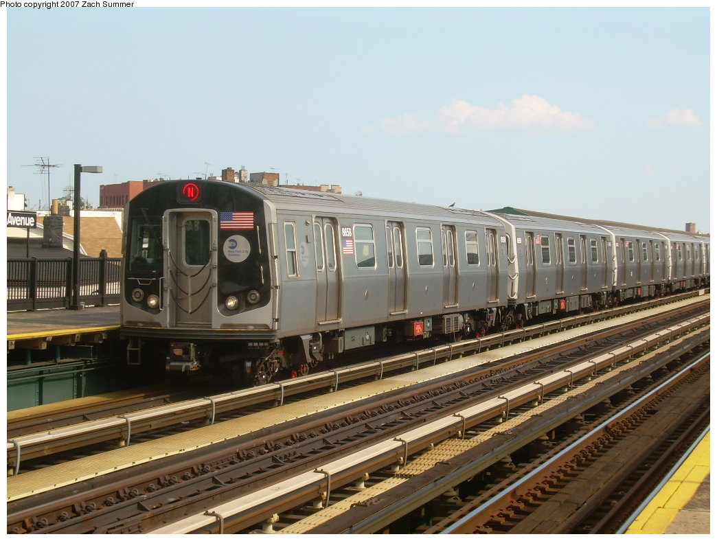 (205k, 1044x788)<br><b>Country:</b> United States<br><b>City:</b> New York<br><b>System:</b> New York City Transit<br><b>Line:</b> BMT West End Line<br><b>Location:</b> 18th Avenue <br><b>Route:</b> N<br><b>Car:</b> R-160A-2 (Alstom, 2005-2008, 5 car sets)  8658 <br><b>Photo by:</b> Zach Summer<br><b>Date:</b> 7/7/2007<br><b>Notes:</b> N reroute over West End.<br><b>Viewed (this week/total):</b> 1 / 1479