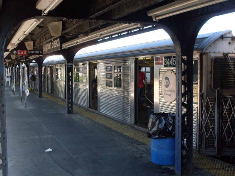 (80k, 800x600)<br><b>Country:</b> United States<br><b>City:</b> New York<br><b>System:</b> New York City Transit<br><b>Line:</b> BMT Brighton Line<br><b>Location:</b> Brighton Beach <br><b>Route:</b> B<br><b>Car:</b> R-32 (Budd, 1964)  3445 <br><b>Photo by:</b> Anthony Modesto<br><b>Date:</b> 6/25/2010<br><b>Viewed (this week/total):</b> 1 / 677
