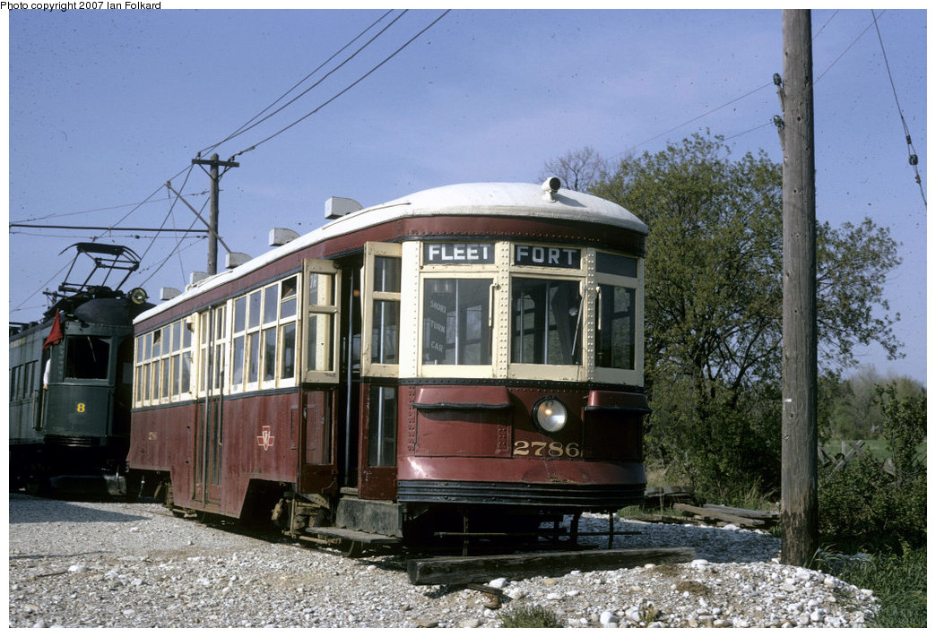 (236k, 1044x711)<br><b>Country:</b> Canada<br><b>City:</b> Toronto<br><b>System:</b> Halton County Radial Railway <br><b>Car:</b> TTC Witt 2786 <br><b>Photo by:</b> Ian Folkard<br><b>Date:</b> 2/1974<br><b>Notes:</b> Small TTC Peter Witt at the west end of the property, before the construction of the loops and the carbarns.<br><b>Viewed (this week/total):</b> 1 / 719
