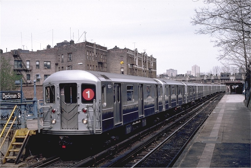 (237k, 1024x687)<br><b>Country:</b> United States<br><b>City:</b> New York<br><b>System:</b> New York City Transit<br><b>Line:</b> IRT West Side Line<br><b>Location:</b> Dyckman Street <br><b>Route:</b> 1<br><b>Car:</b> R-62A (Bombardier, 1984-1987)  1923 <br><b>Photo by:</b> Eric Oszustowicz<br><b>Collection of:</b> Joe Testagrose<br><b>Date:</b> 4/12/1987<br><b>Viewed (this week/total):</b> 3 / 2758