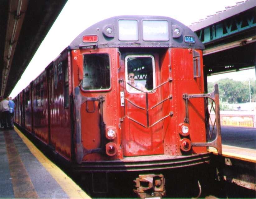(161k, 823x640)<br><b>Country:</b> United States<br><b>City:</b> New York<br><b>System:</b> New York City Transit<br><b>Line:</b> BMT Culver Line<br><b>Location:</b> Kings Highway <br><b>Route:</b> Fan Trip<br><b>Car:</b> R-33 World's Fair (St. Louis, 1963-64) 9312 <br><b>Photo by:</b> Bob Wright<br><b>Date:</b> 8/27/2000<br><b>Viewed (this week/total):</b> 2 / 1386