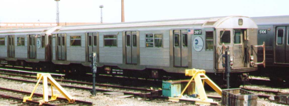 (138k, 1150x425)<br><b>Country:</b> United States<br><b>City:</b> New York<br><b>System:</b> New York City Transit<br><b>Location:</b> Coney Island Yard<br><b>Car:</b> R-32 (Budd, 1964)  3817 <br><b>Photo by:</b> Bob Wright<br><b>Date:</b> 9/22/2002<br><b>Viewed (this week/total):</b> 2 / 1225