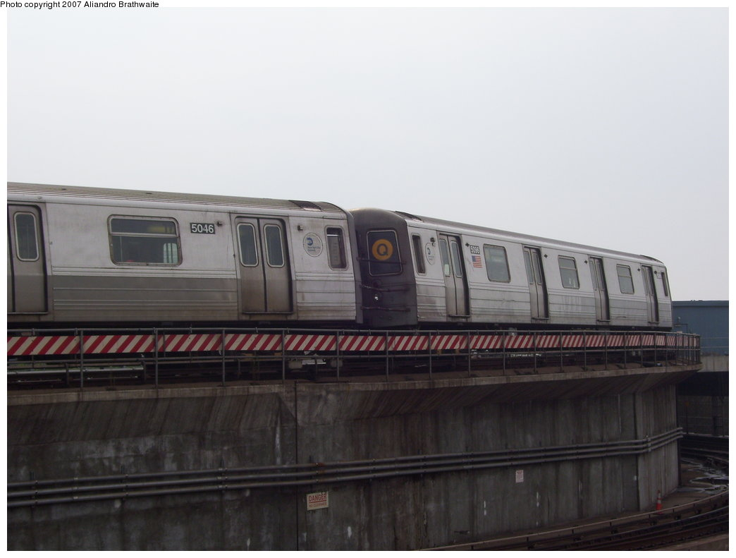 (117k, 1044x791)<br><b>Country:</b> United States<br><b>City:</b> New York<br><b>System:</b> New York City Transit<br><b>Location:</b> Coney Island/Stillwell Avenue<br><b>Route:</b> Q<br><b>Car:</b> R-68A (Kawasaki, 1988-1989)  5046 <br><b>Photo by:</b> Aliandro Brathwaite<br><b>Date:</b> 7/5/2007<br><b>Viewed (this week/total):</b> 0 / 1219