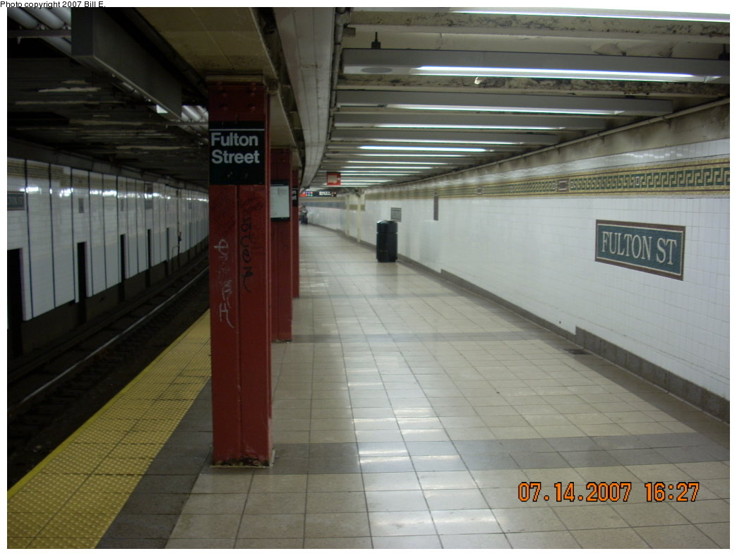 (167k, 1044x788)<br><b>Country:</b> United States<br><b>City:</b> New York<br><b>System:</b> New York City Transit<br><b>Line:</b> BMT Nassau Street/Jamaica Line<br><b>Location:</b> Fulton Street <br><b>Photo by:</b> Bill E.<br><b>Date:</b> 7/14/2007<br><b>Viewed (this week/total):</b> 0 / 1509