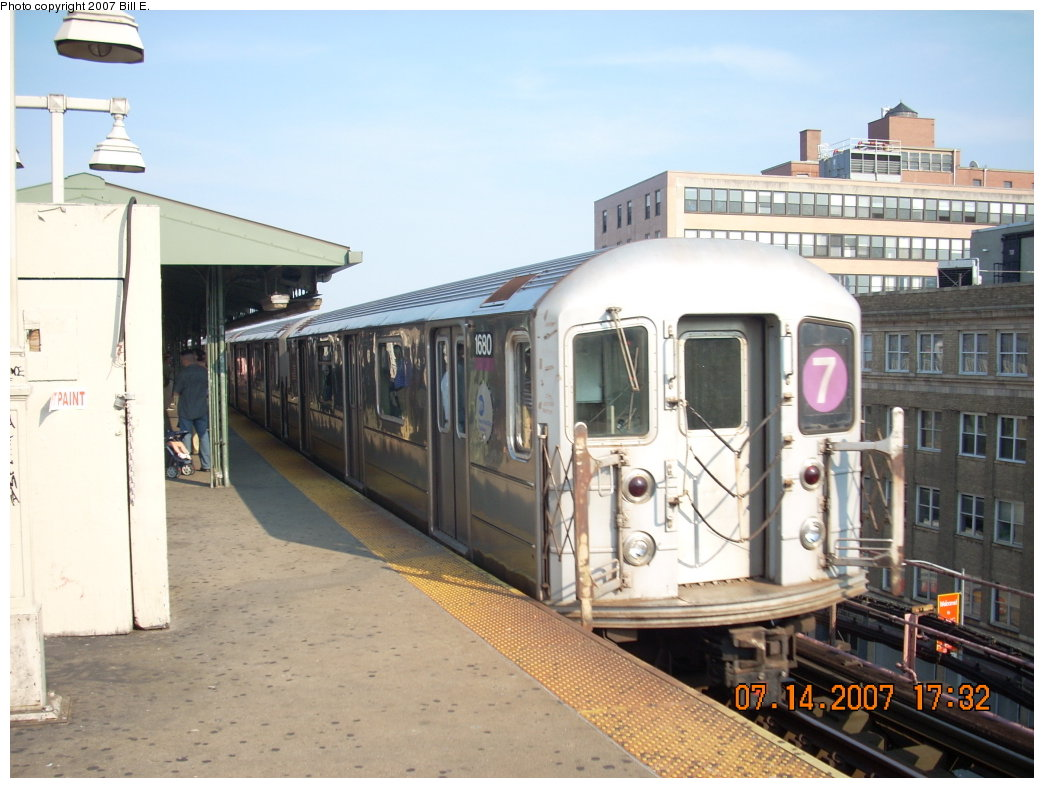 (189k, 1044x788)<br><b>Country:</b> United States<br><b>City:</b> New York<br><b>System:</b> New York City Transit<br><b>Line:</b> IRT Flushing Line<br><b>Location:</b> Queensborough Plaza <br><b>Route:</b> 7<br><b>Car:</b> R-62A (Bombardier, 1984-1987)  1680 <br><b>Photo by:</b> Bill E.<br><b>Date:</b> 7/14/2007<br><b>Viewed (this week/total):</b> 0 / 1000