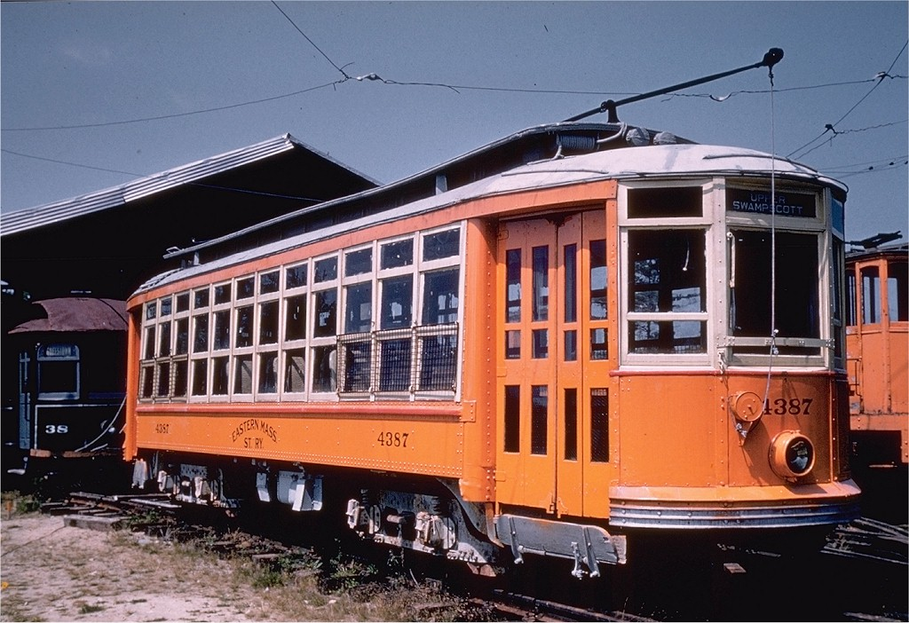 (215k, 1024x702)<br><b>Country:</b> United States<br><b>City:</b> Kennebunk, ME<br><b>System:</b> Seashore Trolley Museum <br><b>Car:</b> MBTA 4387 <br><b>Collection of:</b> Joe Testagrose<br><b>Date:</b> 8/15/1957<br><b>Viewed (this week/total):</b> 0 / 746