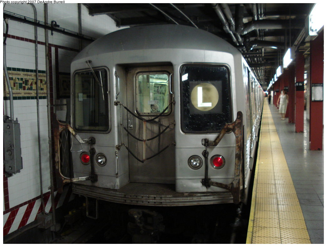 (165k, 1044x788)<br><b>Country:</b> United States<br><b>City:</b> New York<br><b>System:</b> New York City Transit<br><b>Line:</b> BMT Canarsie Line<br><b>Location:</b> 8th Avenue <br><b>Route:</b> L<br><b>Car:</b> R-42 (St. Louis, 1969-1970)   <br><b>Photo by:</b> DeAndre Burrell<br><b>Date:</b> 6/23/2007<br><b>Viewed (this week/total):</b> 3 / 2062