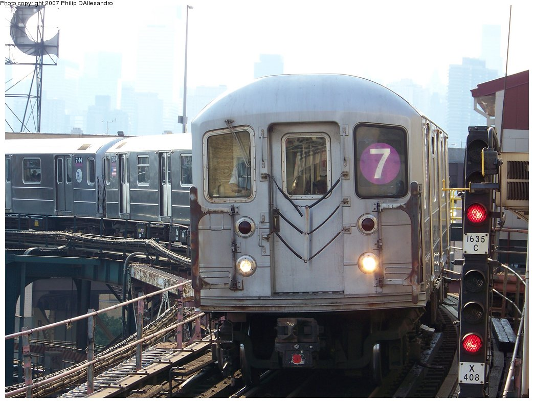 (183k, 1044x788)<br><b>Country:</b> United States<br><b>City:</b> New York<br><b>System:</b> New York City Transit<br><b>Line:</b> IRT Flushing Line<br><b>Location:</b> Queensborough Plaza <br><b>Route:</b> 7<br><b>Car:</b> R-62A (Bombardier, 1984-1987)  2150 <br><b>Photo by:</b> Philip D'Allesandro<br><b>Date:</b> 7/14/2007<br><b>Viewed (this week/total):</b> 0 / 1183