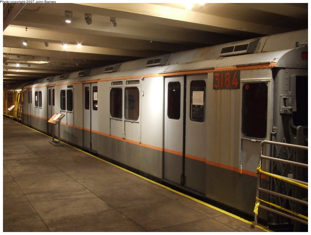 (143k, 1044x788)<br><b>Country:</b> United States<br><b>City:</b> New York<br><b>System:</b> New York City Transit<br><b>Location:</b> New York Transit Museum<br><b>Car:</b> R-10 (American Car & Foundry, 1948) 3184 <br><b>Photo by:</b> John Barnes<br><b>Date:</b> 7/19/2007<br><b>Viewed (this week/total):</b> 4 / 2406